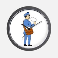 Mailman Deliver Letter Isolated Cartoon Wall Clock
