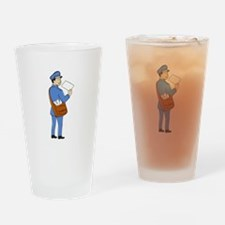 Mailman Deliver Letter Isolated Cartoon Drinking G