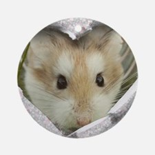 Peep Hole Hamster Round Ornament