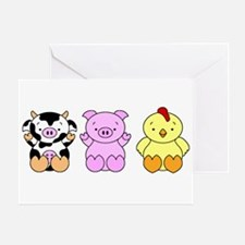 Cute Cow, Pig & Chicken Greeting Card