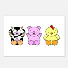 Cute Cow, Pig & Chicken Postcards (Package of 8)