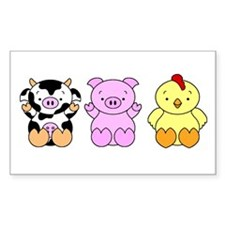 Cute Cow, Pig & Chicken Decal