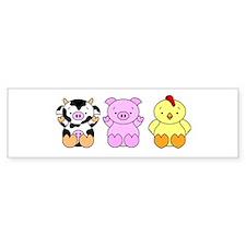 Cute Cow, Pig & Chicken Bumper Sticker