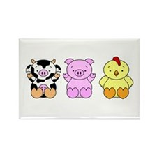 Cute Cow, Pig & Chicken Rectangle Magnet