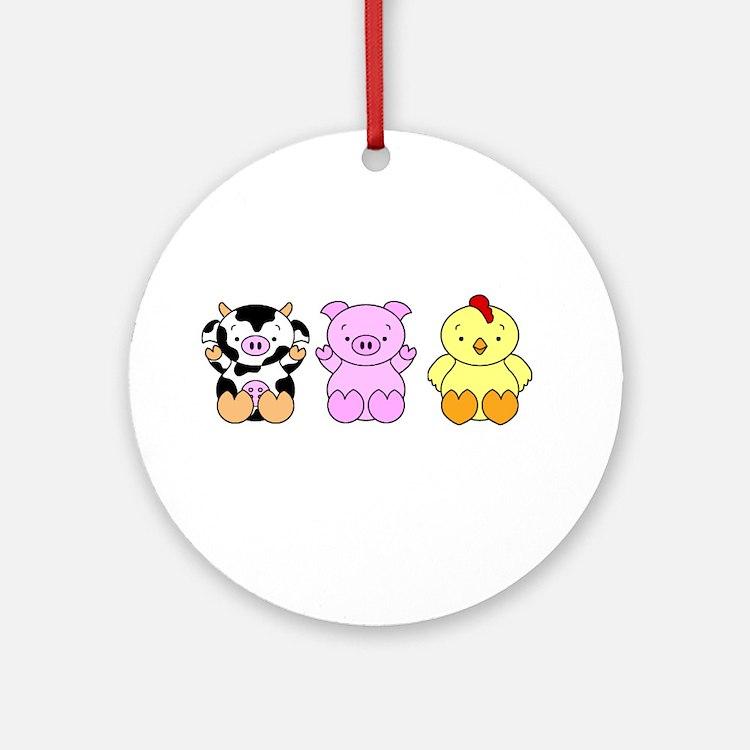 Cute Cow, Pig & Chicken Ornament (Round)
