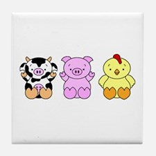 Cute Cow, Pig & Chicken Tile Coaster