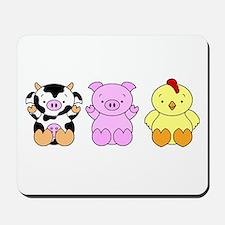 Cute Cow, Pig & Chicken Mousepad