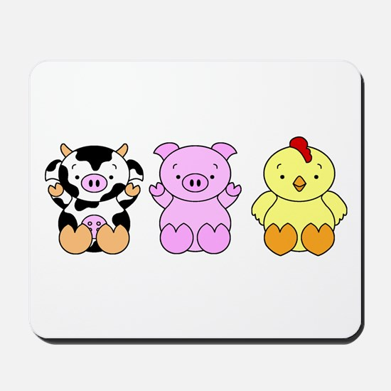 Cute Cow, Pig & Chicken Mousepad