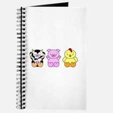 Cute Cow, Pig & Chicken Journal