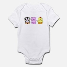 Cute Cow, Pig & Chicken Infant Bodysuit