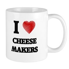 I love Cheese Makers (Heart made from words) Mugs