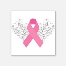"Cute Breast cancer support Square Sticker 3"" x 3"""