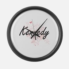 Kennedy surname artistic design w Large Wall Clock