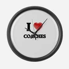 I love Coaches (Heart made from w Large Wall Clock
