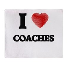 I love Coaches (Heart made from word Throw Blanket