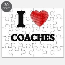 I love Coaches (Heart made from words) Puzzle