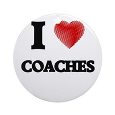 I love Coaches (Heart made from wor Round Ornament