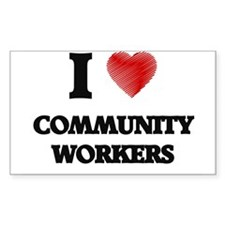 I love Community Workers (Heart made from Decal