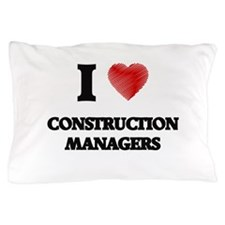 I love Construction Managers (Heart ma Pillow Case
