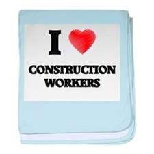I love Construction Workers (Heart ma baby blanket