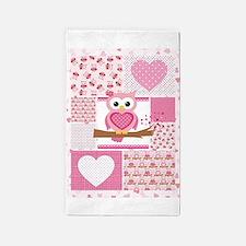 Pink Owl Patchwork Area Rug