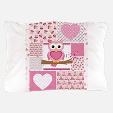 Pink Owl Patchwork Pillow Case