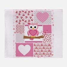 Pink Owl Patchwork Throw Blanket