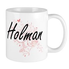 Holman surname artistic design with Butterfli Mugs