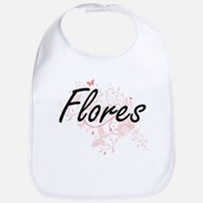 Flores surname artistic design with Butterflie Bib