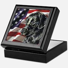 Labrador Retriever Dog Patriotic USA Flag Tile Box