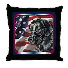 Labrador Retriever Patriotic US Flag Throw Pillow