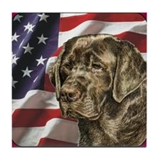 Labrador Retriever Patriotic USA Flag Tile Coaster