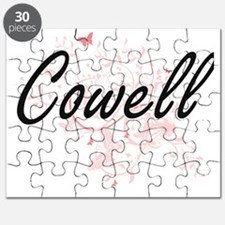Cowell surname artistic design with Butterf Puzzle