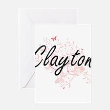 Clayton surname artistic design wit Greeting Cards