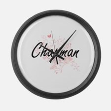 Chapman surname artistic design w Large Wall Clock