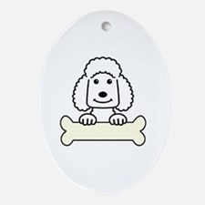 Cute Chocolate standard poodle Oval Ornament