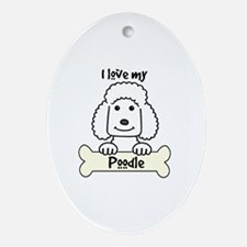 Funny Chocolate standard poodle Oval Ornament