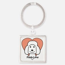Funny Standard poodle cartoon Square Keychain