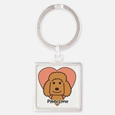 Cute Apricot standard poodle Square Keychain
