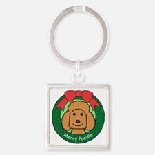 Funny Apricot standard poodle Square Keychain