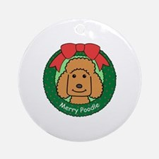 Chocolate standard poodle Round Ornament