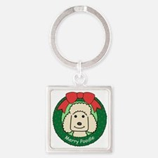 Standard poodle cartoon Square Keychain