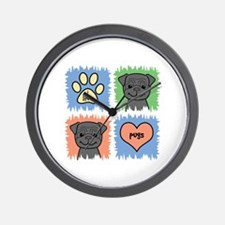 Cute I love pugs Wall Clock