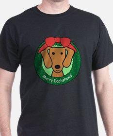 Brown dachshund christmas T-Shirt