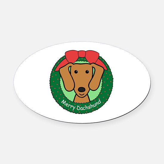 Unique Black and and tan dachshund Oval Car Magnet