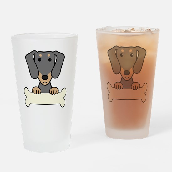 Cute Black and and tan dachshund Drinking Glass