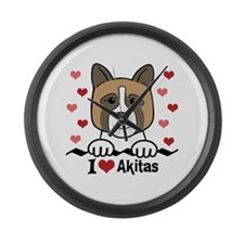 Unique Dogs akita Large Wall Clock