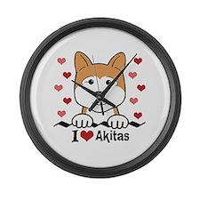 Cute Dogs akita Large Wall Clock
