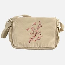 Cherry Blossom with Butterfly Messenger Bag