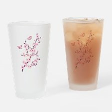 Cherry Blossom with Butterfly Drinking Glass